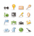 Simple sports gear and tools icons vector image