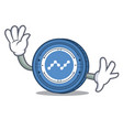 Waving nano coin character cartoon vector image