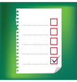 checkbox notepad paper vector image vector image