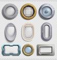 various portholes isolated set submarine vector image