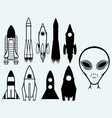 Set icon rockets and alien vector image vector image