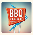 Retro Neon Sign BBQ vector image