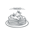 Hand drawn pancakes with strawberries and syrup vector image