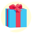 Blue gift box with a red ribbon and bow vector image