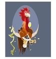 Cartoon rooster isolated on background vector image