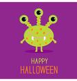 Cute cartoon green monster Happy Halloween card vector image