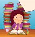 Little girl doing homework vector image