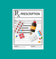 Rx prescription blank with pills and drugs vector image
