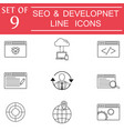 seo and development icon set business signs vector image
