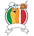 Hot Dog Chef Over A Blank Banner And Italian Flag vector image vector image