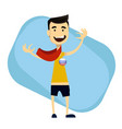 sport fan wearing scarf and badge vector image