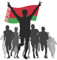Winner with the Belarus flag at the finish vector image vector image
