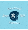 Chasing Swell Abstract Retro Surfers Label