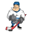 Cartoon ice hockey player character vector image vector image