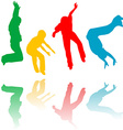 Colored children silhouettes jumping vector image