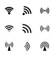 black wireless icon set vector image