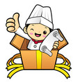 cartoon cook character look at the order in the vector image