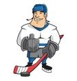 Cartoon ice hockey player character vector image
