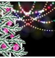 Fancy Christmas tree Bright festive lights vector image