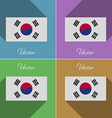 Flags Korea South Set of colors flat design and vector image