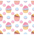 Pink and chocolate cream cupcakes and meringues vector image