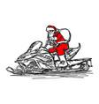 santa claus driving snowmobile vector image