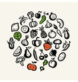 Set of flat design fruit and vegetables icons vector image