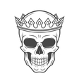 Skull King Crown design element Vintage Royal t vector image