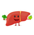 strong healthy happy liver character vector image