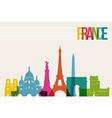 Travel France destination landmarks skyline vector image