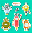 set of robots stickers vector image