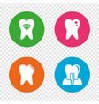 dental care icons caries tooth and implant vector image