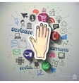 Hand collage with icons background vector image