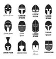 Warrior helmets black icons or logos set vector image