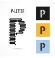 Creative P - letter icon abstract logo design vector image