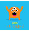 Cute cartoon orange monster Happy Halloween card vector image