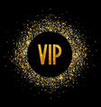 golden glitter texture with text vip vector image