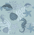 seamless pattern with aquatic animals and plants vector image