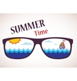 sunglasses with summer view of ocean sea and boat vector image