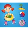Water fun - girl vector image vector image
