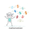 mathematician stands next to the flying figures vector image