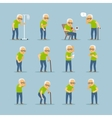 Old man sick icons vector image