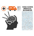 brain operation icon with 1300 medical business vector image