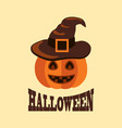 halloween poster with pumpkin in witch hat vector image