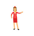 stewardess in red uniform doing a welcome gesture vector image