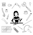 Woman sews and tools for tailoring vector image