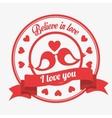 believe in love emblem i love you birds kissen vector image