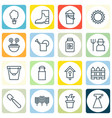set of 16 plant icons includes birdhouse bailer vector image