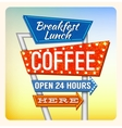 Retro Neon Sign Breakfest Coffee vector image vector image