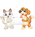 Cute cat and dog holding blank sign vector image